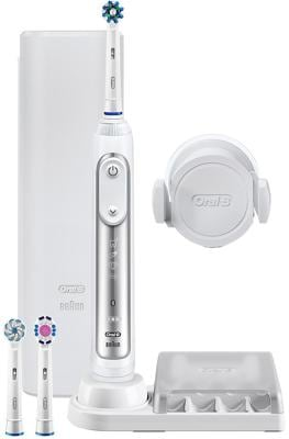 Braun Oral-B Genius 8000 CrossAction Elektrische Zahnbürste, white, Akkubetrieb