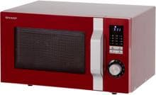 Sharp R744RD, Mikrowelle 25 l (900 W), Grill (1000 W), Retro Look, rot