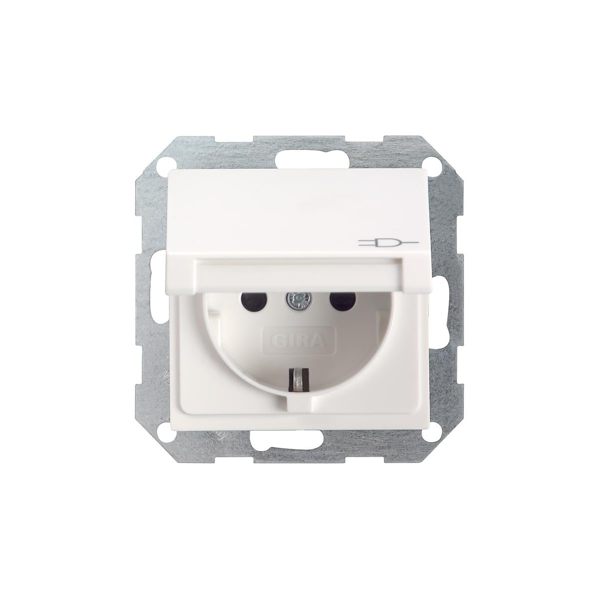 schuko steckdose gira 045403 mit klappdeckel reinwei gl nzend von gira b artikel bei. Black Bedroom Furniture Sets. Home Design Ideas