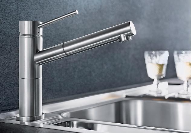 Blanco Alta-S Compact Einhebel-Küchenarmatur, Hochdruck, Edelstahl ...