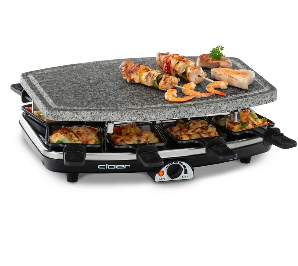 Elektro Raclette Grill mit Naturstein in einem Raclettpfännchen für 8 Personen