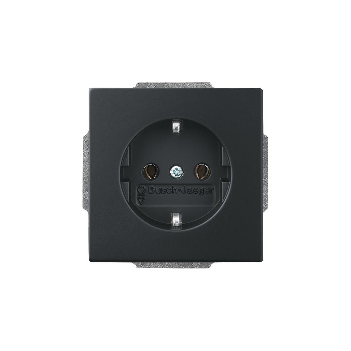schuko steckdosen einsatz schwarz matt future linear. Black Bedroom Furniture Sets. Home Design Ideas