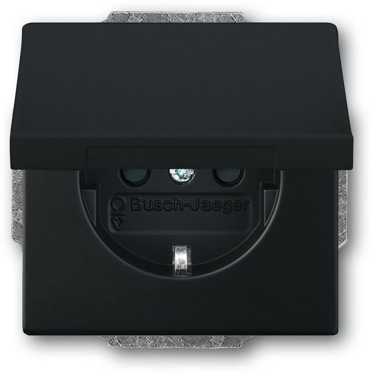 schuko steckdosen einsatz mit klappdeckel schwarz matt future linear busch jaeger 20 euk 885. Black Bedroom Furniture Sets. Home Design Ideas