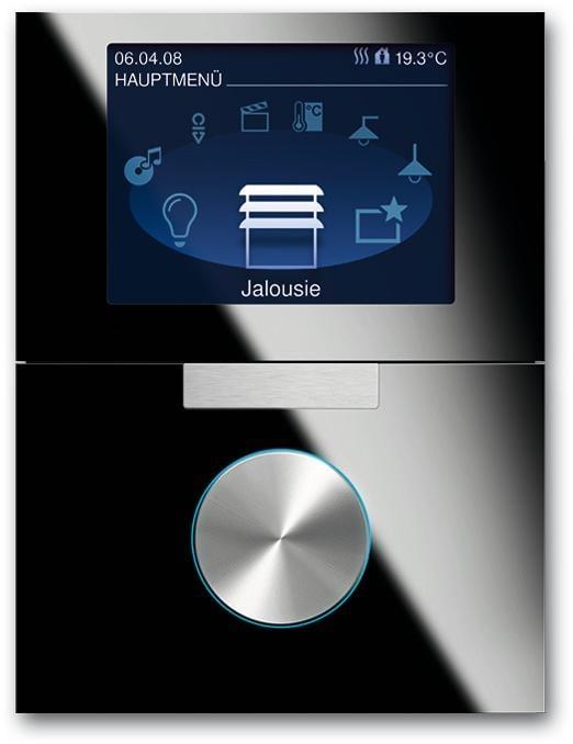 8 89 cm tft farbdisplay mit drehbedienelement busch prion knx system glas schwarz busch. Black Bedroom Furniture Sets. Home Design Ideas