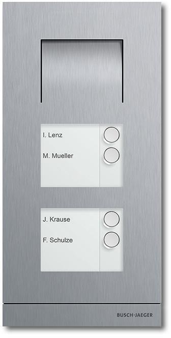 busch jaeger 83102 4 660 freisprecheinheit au enstation audio 4 fach edelstahl von busch jaeger. Black Bedroom Furniture Sets. Home Design Ideas