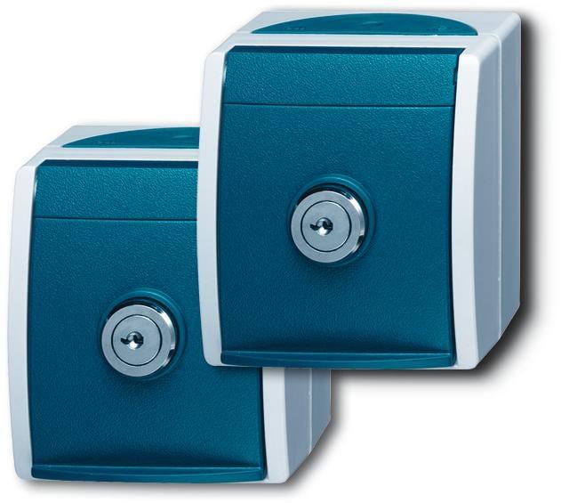 2 schuko steckdosen grau blaugr n ocean ip 44 busch jaeger 20 20 ewsl 53 von busch jaeger. Black Bedroom Furniture Sets. Home Design Ideas