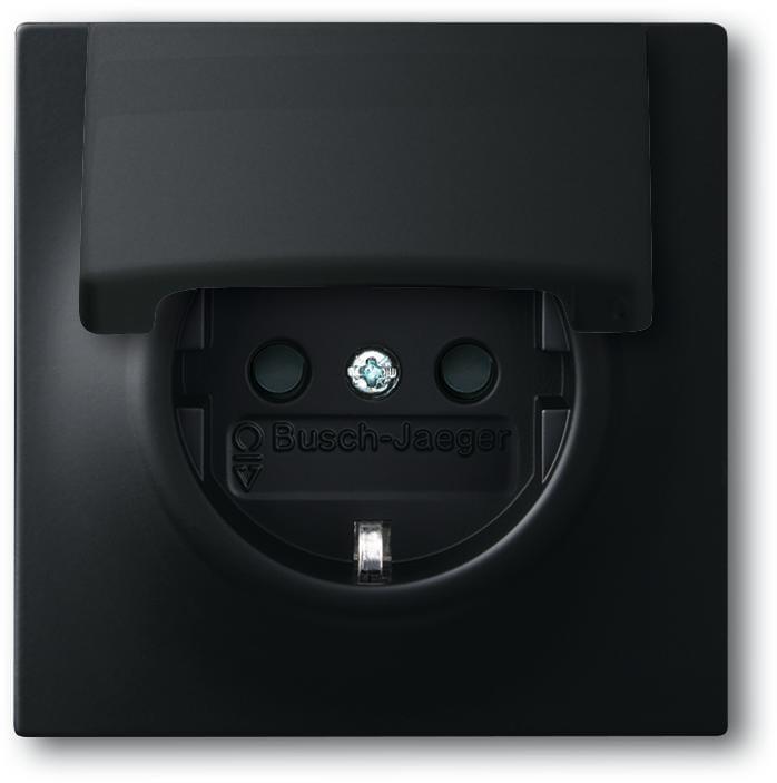 schuko steckdosen einsatz mit klappdeckel schwarz matt. Black Bedroom Furniture Sets. Home Design Ideas