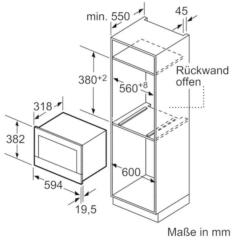 Einbau mikrowelle bosch bfl634gs1 edelstahl von bosch for Einbau mikrowellen