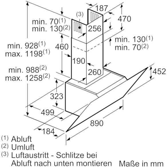 neff dihm 951 s kopffrei dunstabzugshaube d95ihm1s0 89. Black Bedroom Furniture Sets. Home Design Ideas