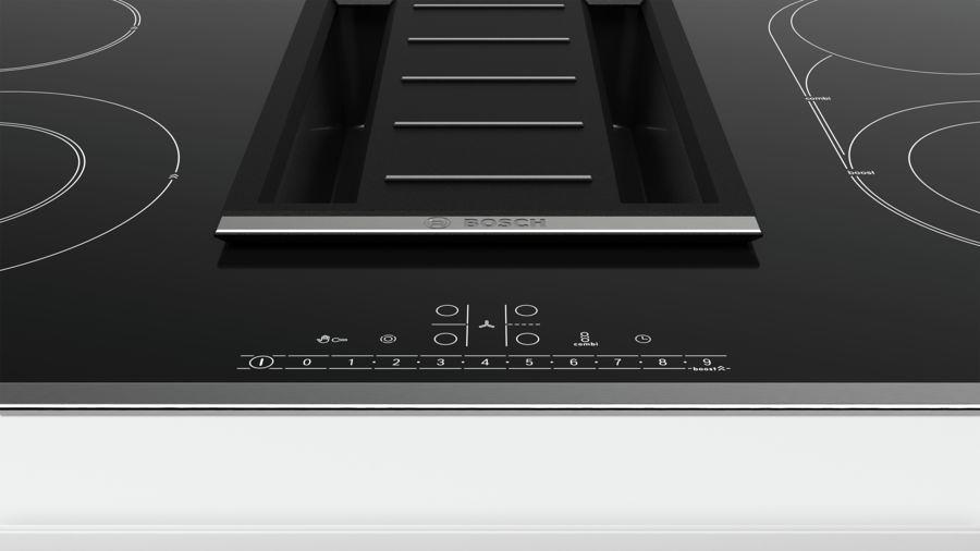 bosch pkm845f11e autarkes induktions kochfeld mit integriertem dunstabzug edelstahl schwarz. Black Bedroom Furniture Sets. Home Design Ideas