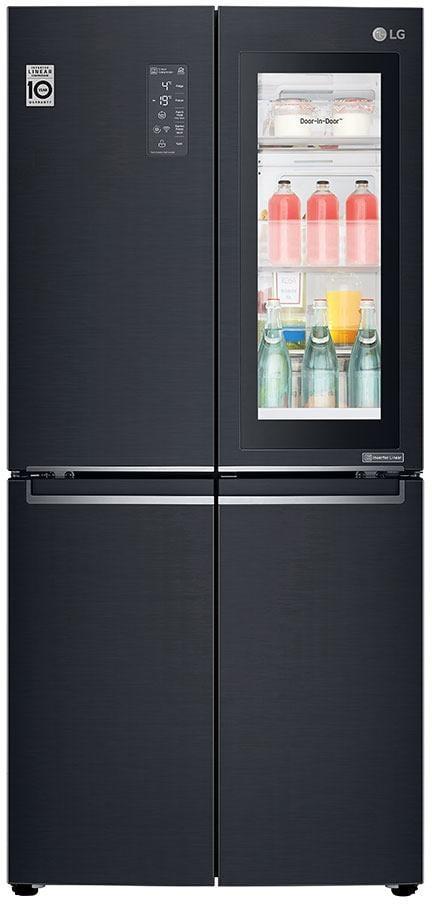 LG GMQ844MCKV A+ French-Door Side-by-Side Kühl-/Gefrierkombination, 315L,  InstaView, Door-in-Door, 83,5cm breit, matt black steel