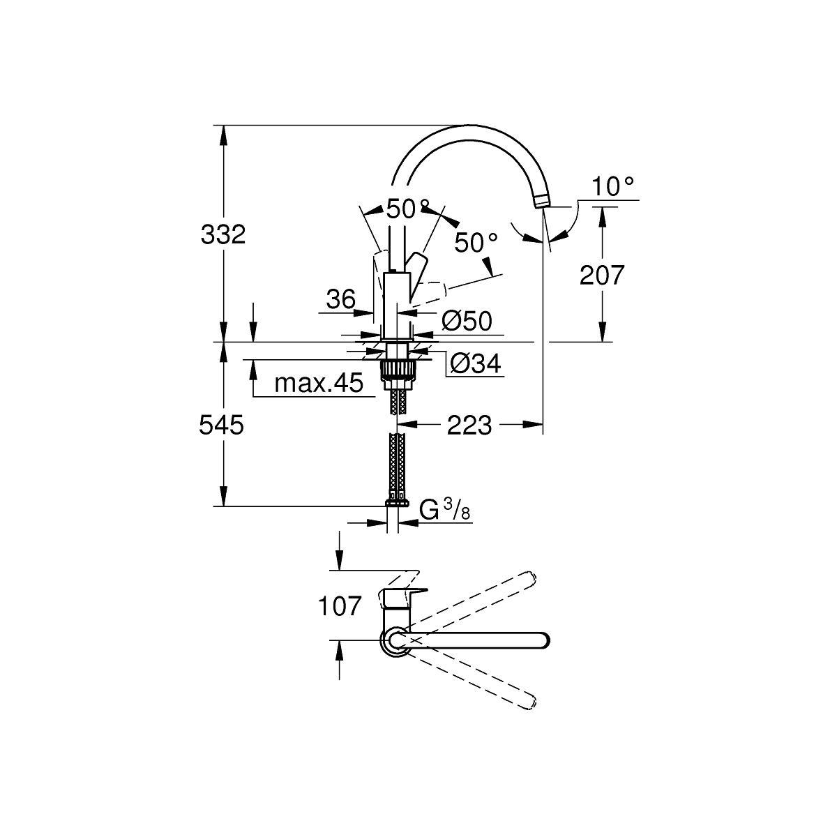 Grohe Bauedge Einhand Spultischbatterie Dn 15 Chrom 31367001 Von Grohe Bei Elektroshop Wagner
