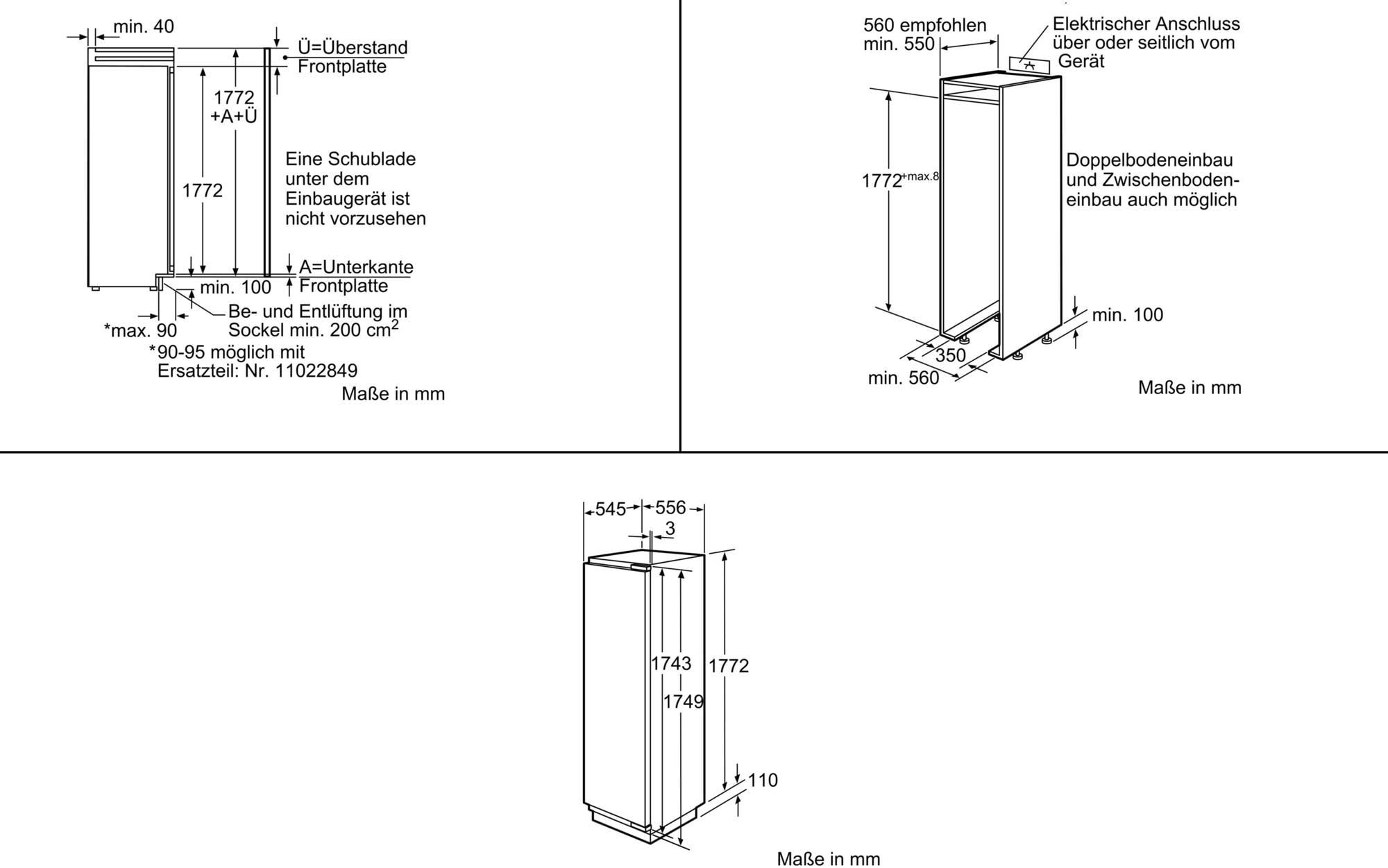 Siemens KI40FP60 A++ Einbau-Kühlschrank, 56 cm breit, weiß von ...