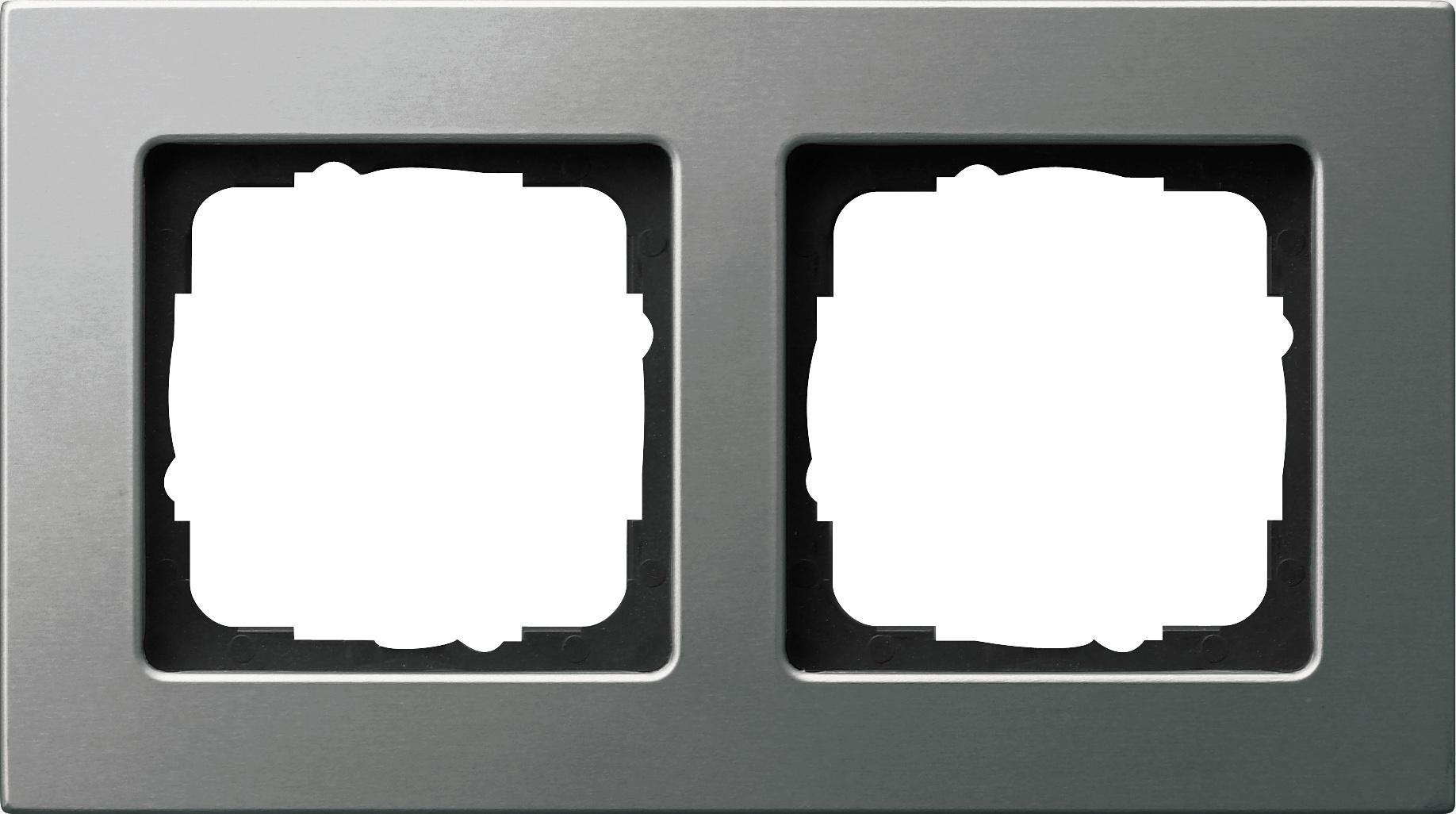 abdeckrahmen 2fach f r die flache montageart edelstahl e22 gira 0212205 von gira bei. Black Bedroom Furniture Sets. Home Design Ideas