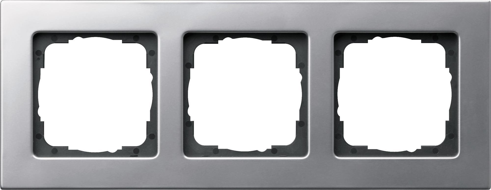 abdeckrahmen 3fach aluminiumfarben e22 gira 0213203 von gira bei elektroshop wagner. Black Bedroom Furniture Sets. Home Design Ideas