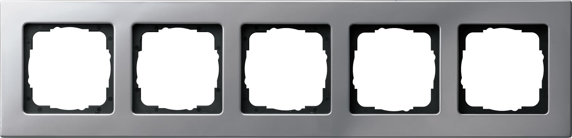 abdeckrahmen gira e22 aluminium 5fach von gira bei elektroshop wagner. Black Bedroom Furniture Sets. Home Design Ideas