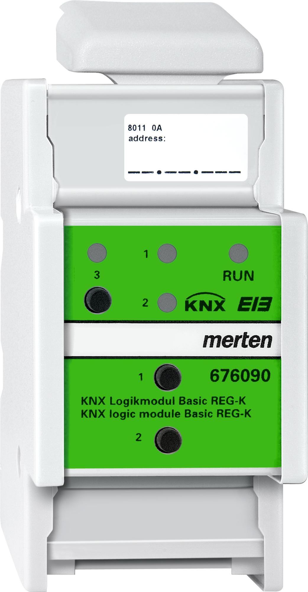 knx logikmodul basic reg k lichtgrau systemger te merten 676090 von merten premium bei. Black Bedroom Furniture Sets. Home Design Ideas