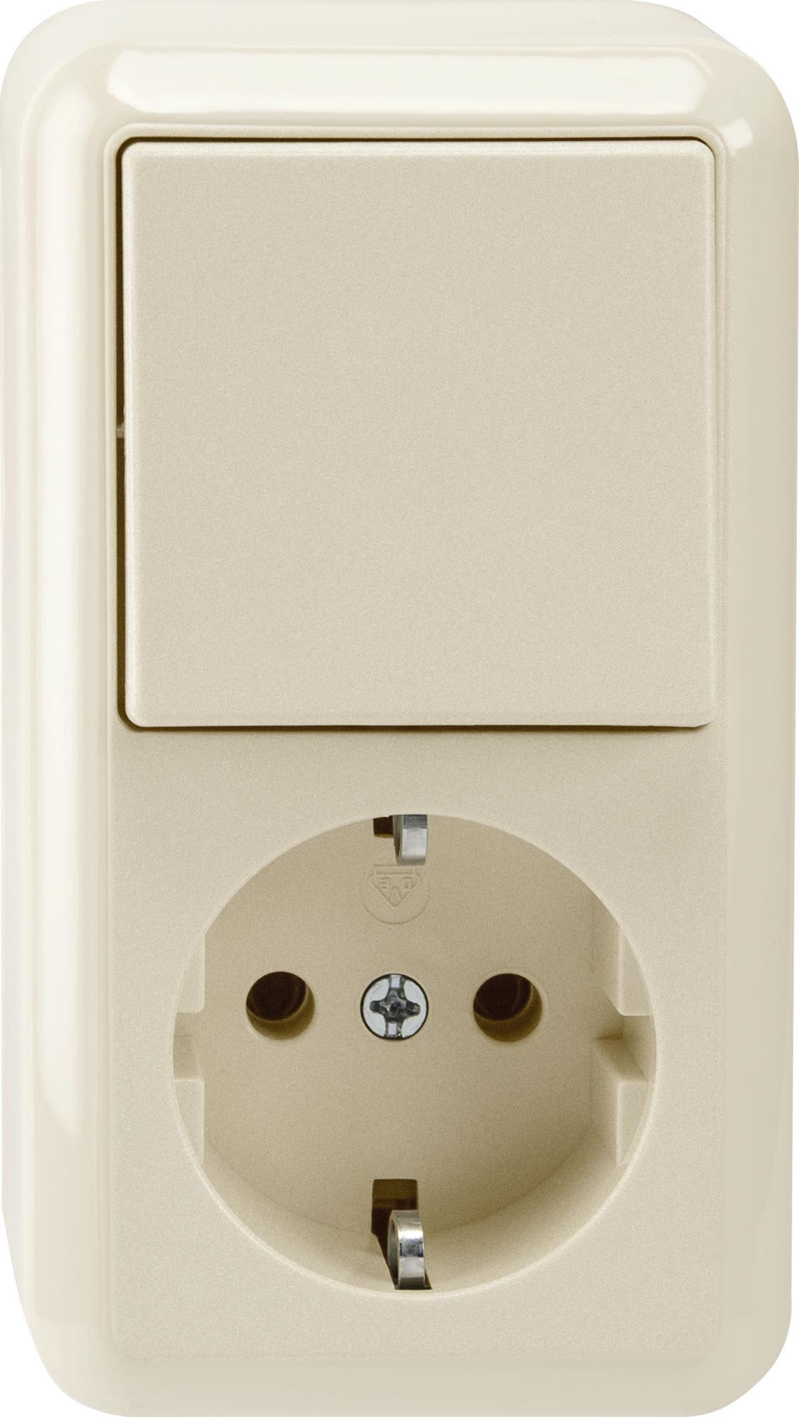 kombination schuko steckdose aus wechselschalter 1 polig. Black Bedroom Furniture Sets. Home Design Ideas