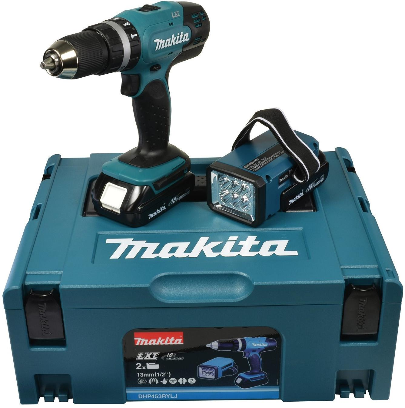 makita dhp453rylj akku schlagbohrschrauber 2x1 5 ah 18v lampe ladeger t von makita bei. Black Bedroom Furniture Sets. Home Design Ideas