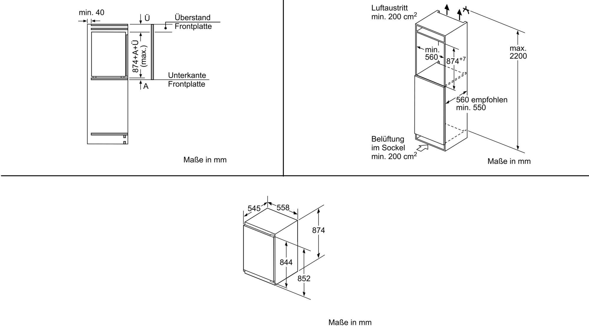Bosch KIR21AD40 A+++ Einbau Kühlschrank, weiß, 55,8 cm breit ...