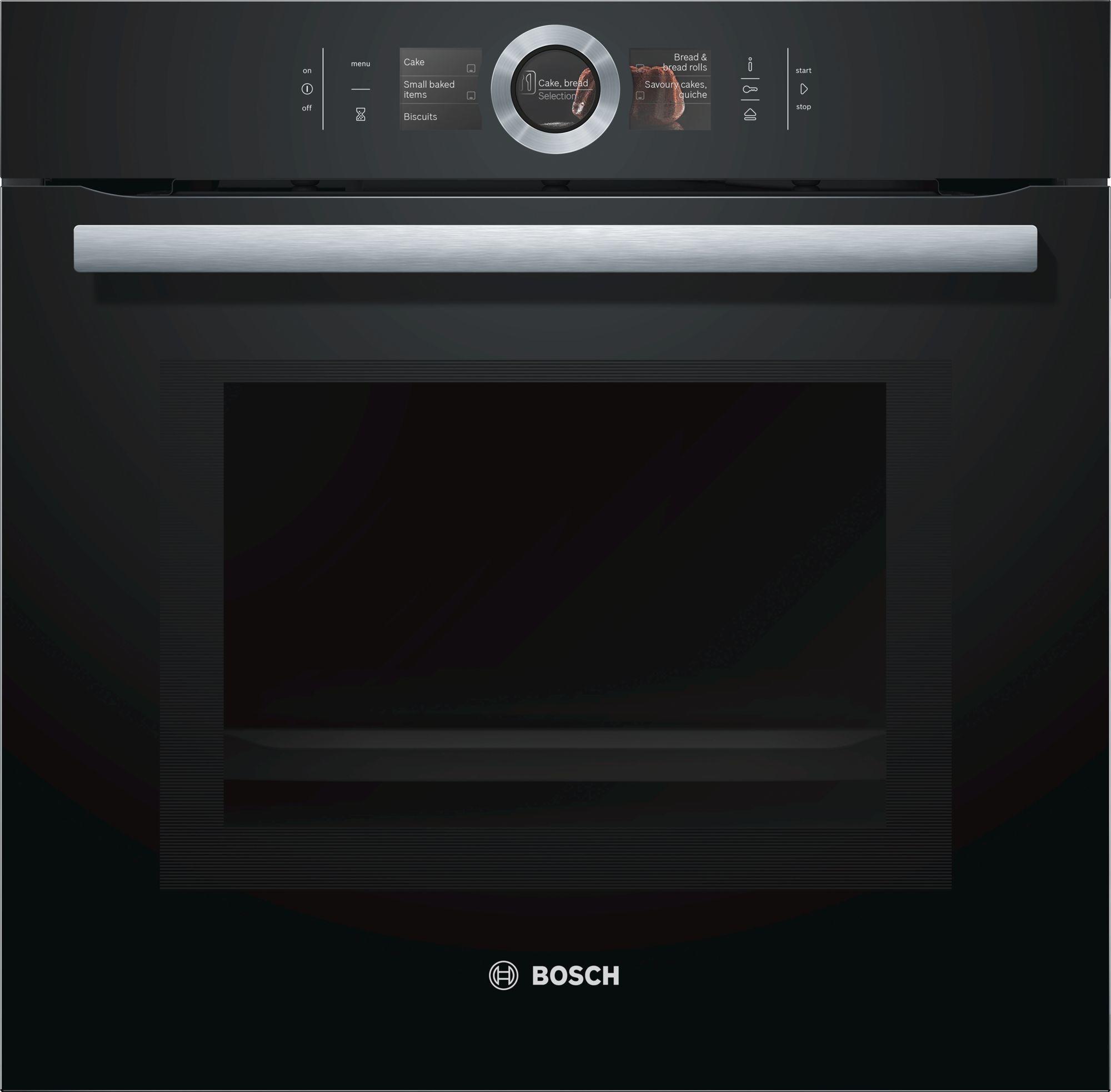 bosch hng6764b6 serie 8 mikrowellen backofen mit dampfunterst tzung vulkan schwarz sensor. Black Bedroom Furniture Sets. Home Design Ideas