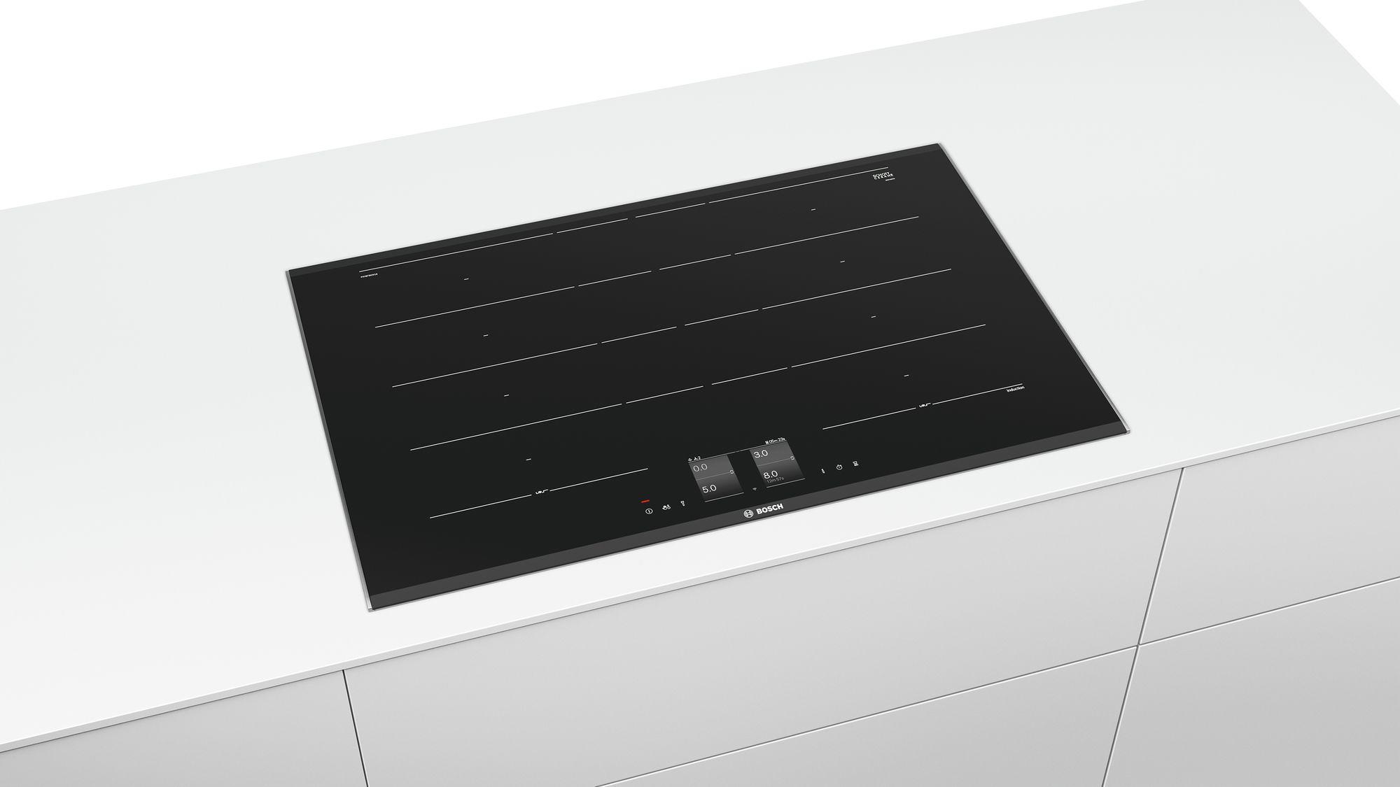 bosch pxy875kw1e autarkes induktions kochfeld glaskeramik alu rahmen silber 80 cm breit. Black Bedroom Furniture Sets. Home Design Ideas
