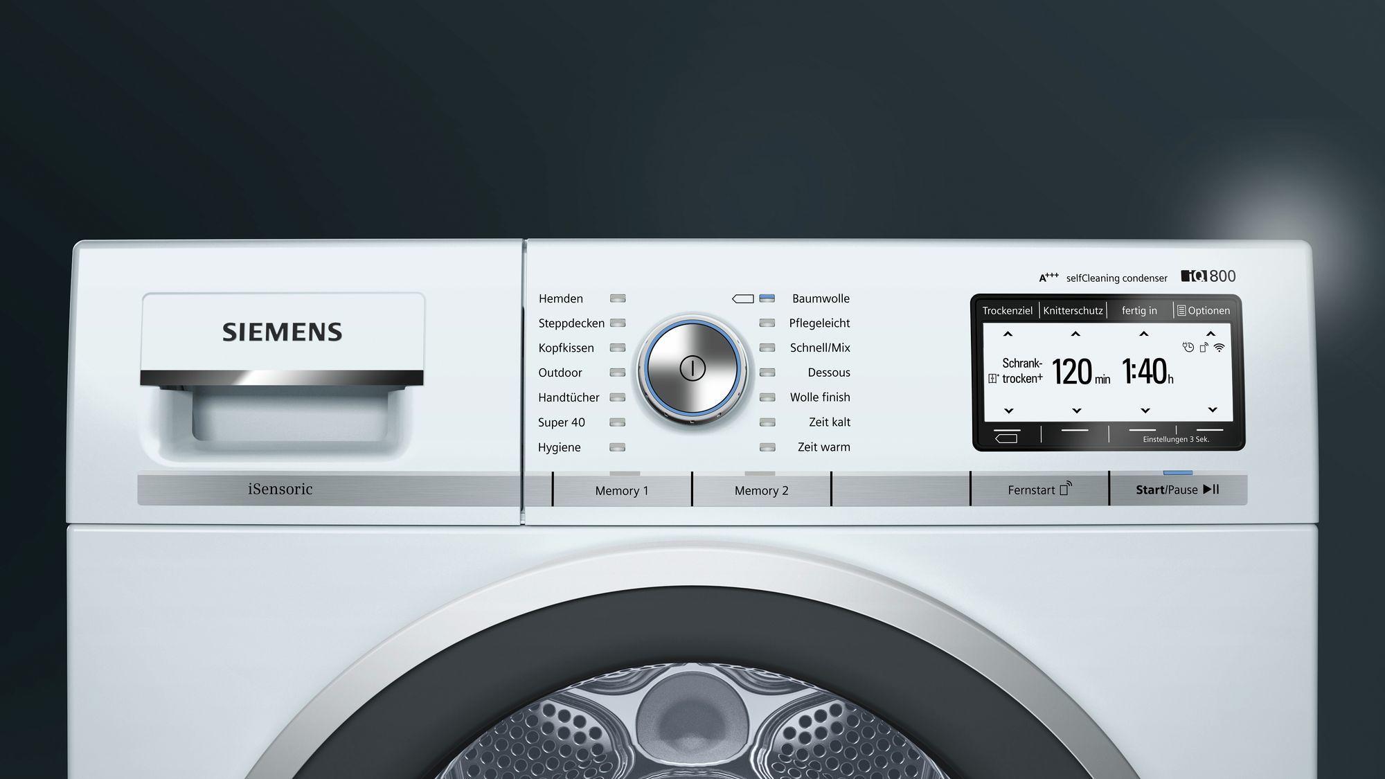 Siemens wt7yh701 8 kg a wärmepumpentrockner knitterschutz