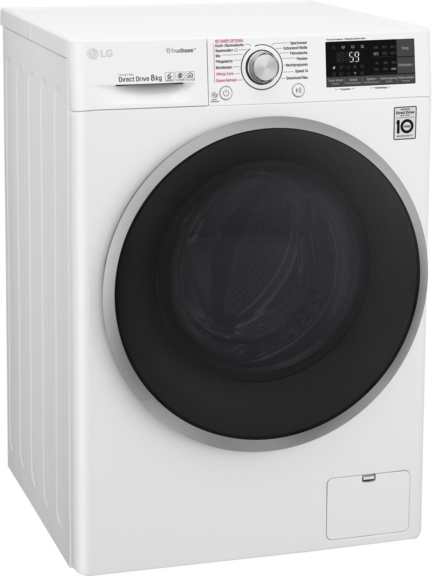 lg f14wm8tt1 8 kg a waschmaschine 1400 u min true steam turbowash von lg gro ger te bei. Black Bedroom Furniture Sets. Home Design Ideas