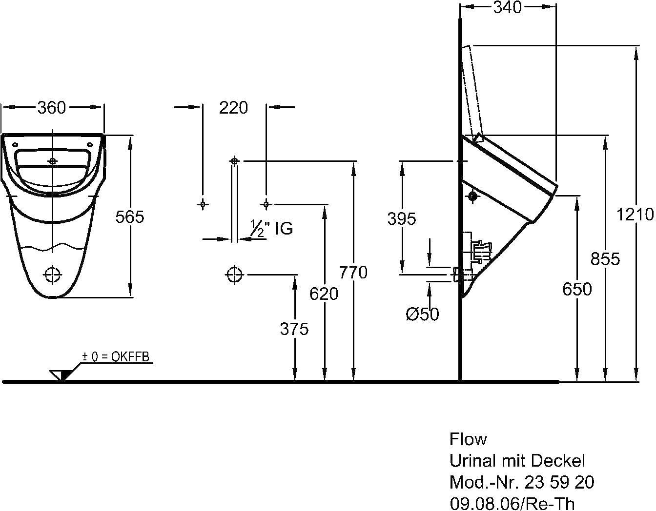 Keramag Flow Urinal 360 X 340 X 565 Mm Zulauf Ablauf Von Hinten