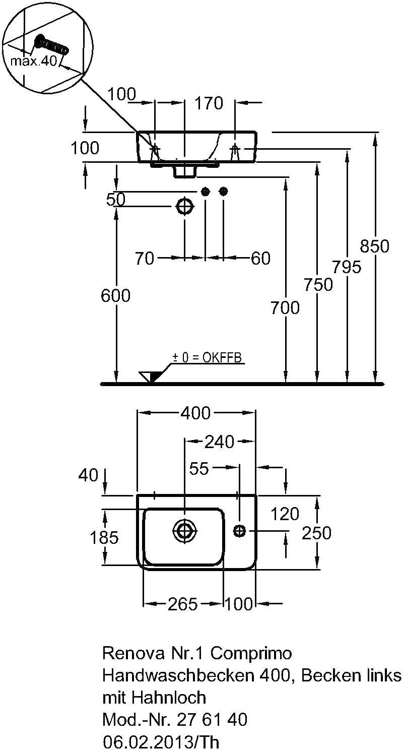 Keramag Renova Nr 1 Comprimo Handwaschbecken Asymmetrisch 400 X