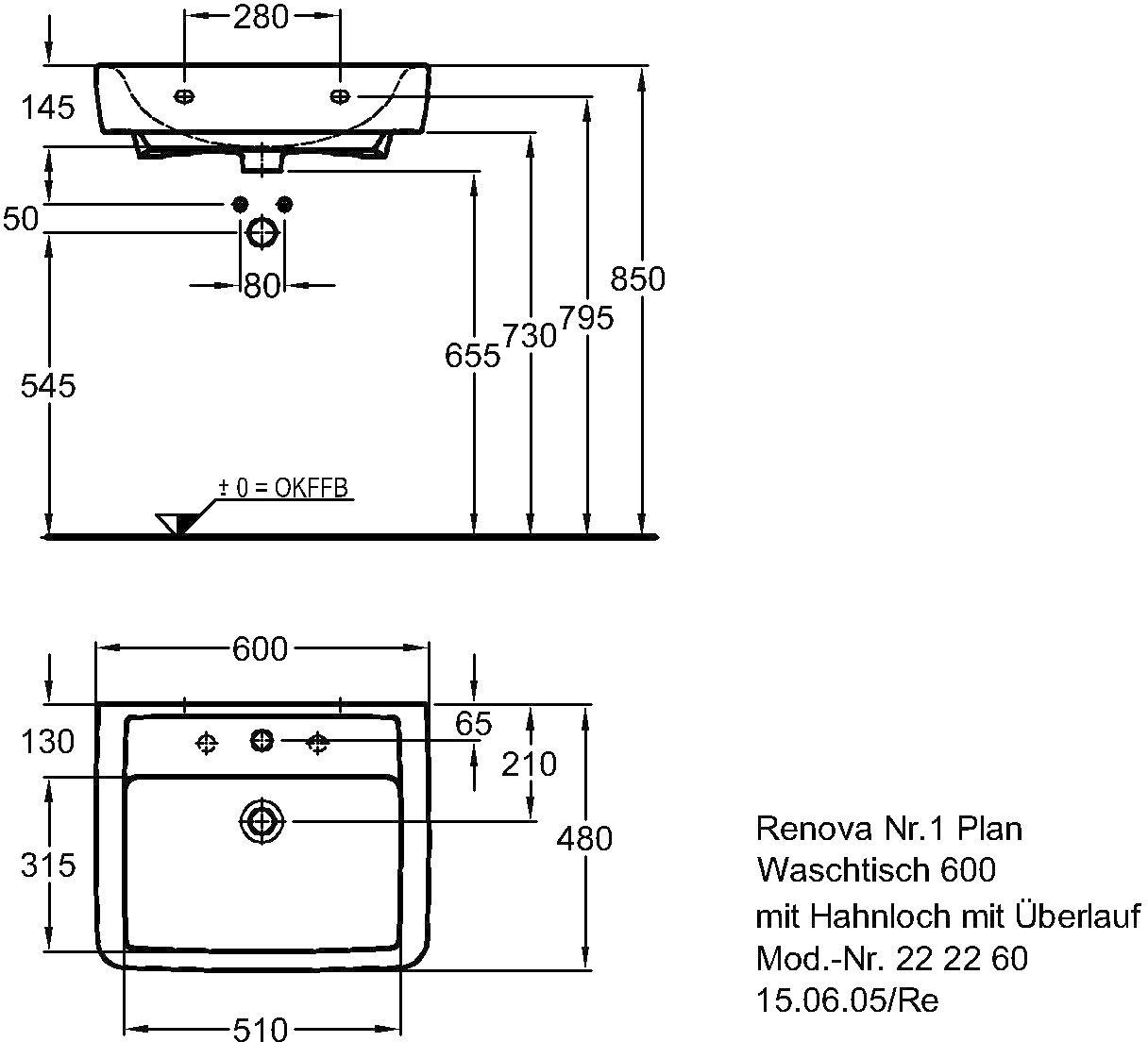 Top Keramag Renova Nr.1 Plan Waschtisch, 600 x 480 x 195 mm, mit OQ45