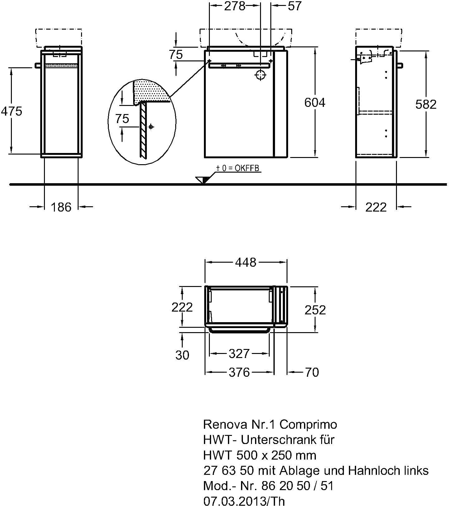Keramag Renova Nr1 Comprimo Handwaschbecken Unterschrank Mit