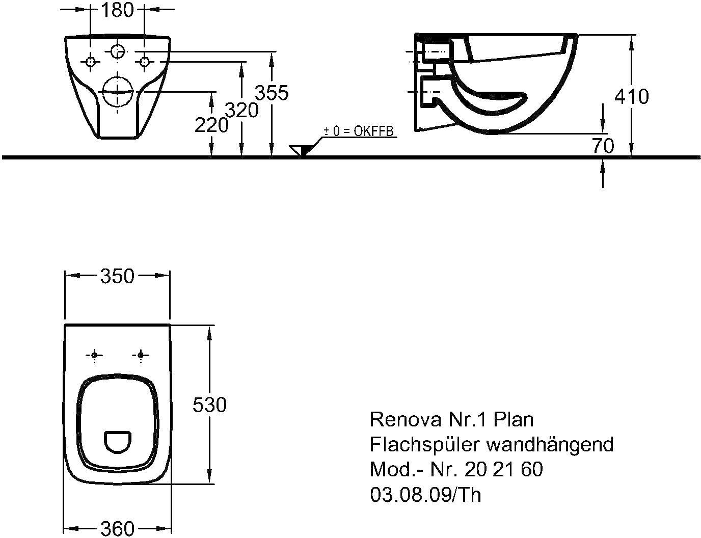 Keramag Renova Nr1 Plan Flachspül Wc 6 Liter Wandhängend